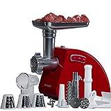 Oursson Picadora de carne eléctrica y embutidora de salchichas, accesorio para trocear, picar y cortar, 1500 Vatios, reverse, MG5530 (Rojo)